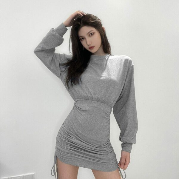 High Waist String Gray Long Sleeve Dress 1- Orezoria Aesthetic Outfits Shop - Aesthetic Clothing - eGirl Outfits - Soft Girl Outfits