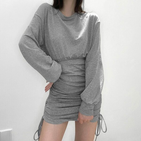 High Waist String Gray Long Sleeve Dress 2- Orezoria Aesthetic Outfits Shop - Aesthetic Clothing - eGirl Outfits - Soft Girl Outfits