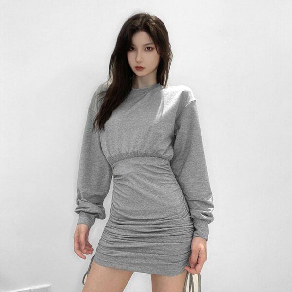 High Waist String Gray Long Sleeve Dress 3- Orezoria Aesthetic Outfits Shop - Aesthetic Clothing - eGirl Outfits - Soft Girl Outfits