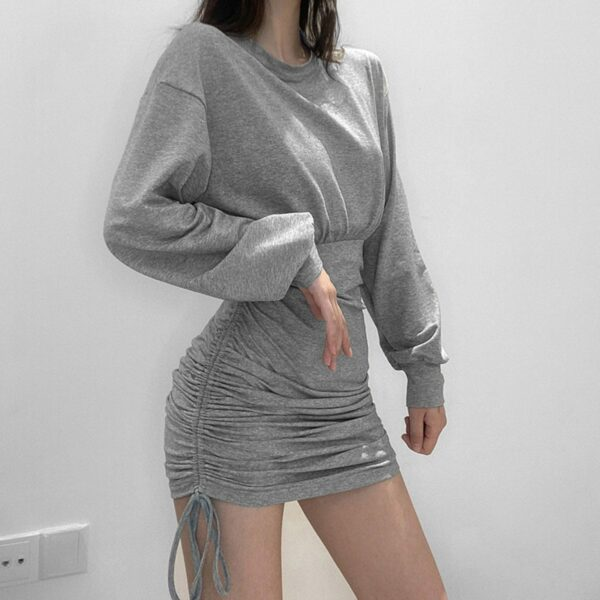 High Waist String Gray Long Sleeve Dress 4- Orezoria Aesthetic Outfits Shop - Aesthetic Clothing - eGirl Outfits - Soft Girl Outfits