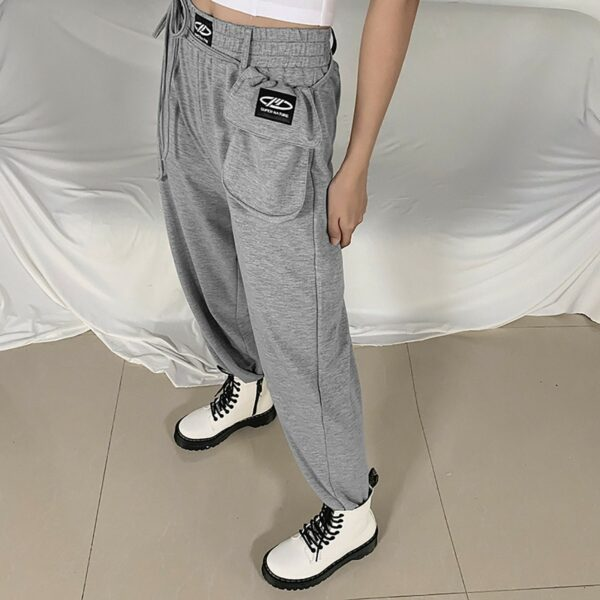 High Waisted Gray Pouch Sport Pants - Orezoria Aesthetic Outfits Shop - Aesthetic Clothing - eGirl Outfits - Soft Girl (2)