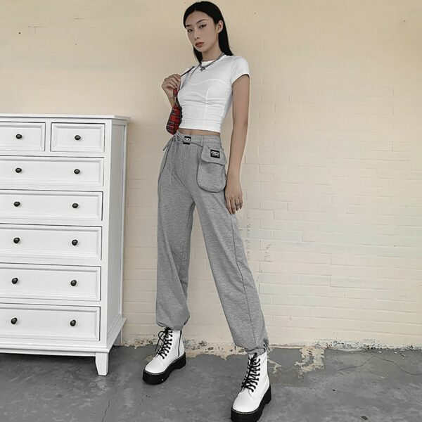 High Waisted Gray Pouch Sport Pants - Orezoria Aesthetic Outfits Shop - Aesthetic Clothing - eGirl Outfits - Soft Girl (3)
