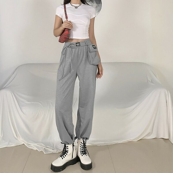 High Waisted Gray Pouch Sport Pants - Orezoria Aesthetic Outfits Shop - Aesthetic Clothing - eGirl Outfits - Soft Girl