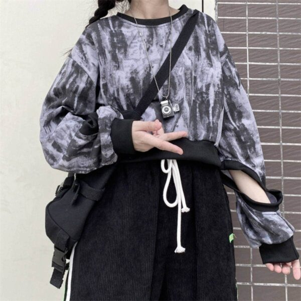 Holed Sleeves Tie Dye Sweatshirt.1- Orezoria Aesthetic Outfits Shop - Aesthetic Clothing - eGirl Outfits - Soft Girl Outfits