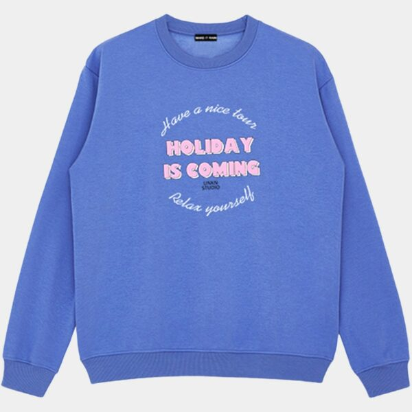 Holiday is Coming Blue Sweatshirt 1 - Orezoria Aesthetic Outfits Shop - Aesthetic Clothing - eGirl Outfits - Soft Girl Outfits