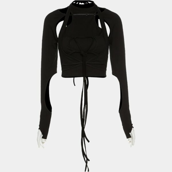 Hollow Bondage Laced Black Long Sleeve 4 - Orezoria Aesthetic Outfits Shop - Aesthetic Clothing - eGirl Outfits - Soft Girl Outfits.psd