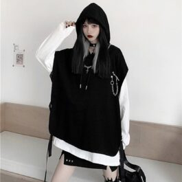 Hooded Top + Oversized Long Sleeve Set 1 - Orezoria Aesthetic Outfits Shop - Aesthetic Clothing - eGirl Outfits - Soft Girl Outfits