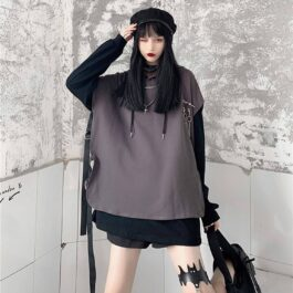 Hooded Top + Oversized Long Sleeve Set 2 - Orezoria Aesthetic Outfits Shop - Aesthetic Clothing - eGirl Outfits - Soft Girl Outfits
