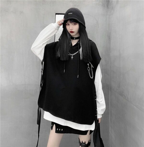 Hooded Top + Oversized Long Sleeve Set 3 - Orezoria Aesthetic Outfits Shop - Aesthetic Clothing - eGirl Outfits - Soft Girl Outfits