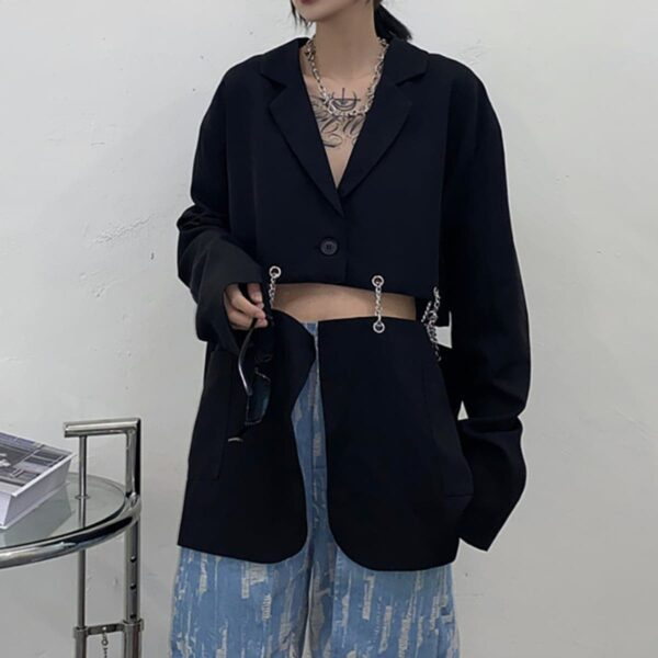 Horizontal Chain Split Grunge Jacket 1- Orezoria Aesthetic Outfits Shop - Aesthetic Clothing - eGirl Outfits - Soft Girl Outfits