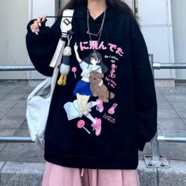 Hug Me Tide Anime Girl Loose Hoodie 2- Orezoria Aesthetic Outfits Shop - Aesthetic Clothing - eGirl Outfits - Soft Girl Outfits