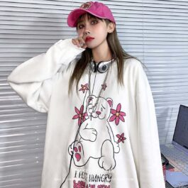 I Feel Hungry But I'm Fat Loose Long Sleeve 1 - Orezoria Aesthetic Outfits Shop - Aesthetic Clothing - eGirl Outfits - Soft Girl Outfits
