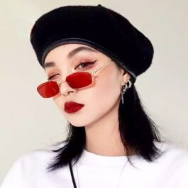 Inflated Rectangular Red Aesthetic Glasses 1- Orezoria Aesthetic Outfits Shop - Aesthetic Clothing - eGirl Outfits - Soft Girl Outfits (1)