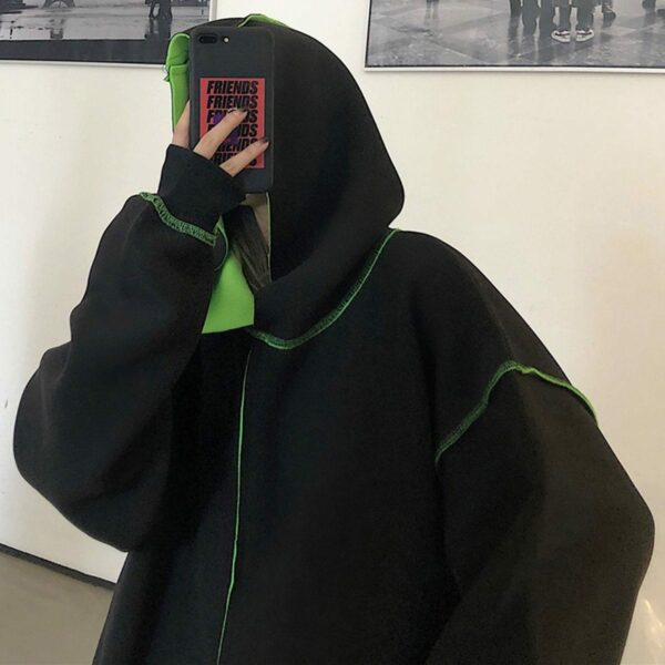 Inner Contrast Color Oversized Hoodie 2 - Orezoria Aesthetic Outfits Shop - Aesthetic Clothing - eGirl Outfits - Soft Girl Outfits