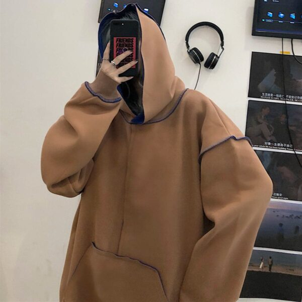 Inner Contrast Color Oversized Hoodie 3 - Orezoria Aesthetic Outfits Shop - Aesthetic Clothing - eGirl Outfits - Soft Girl Outfits