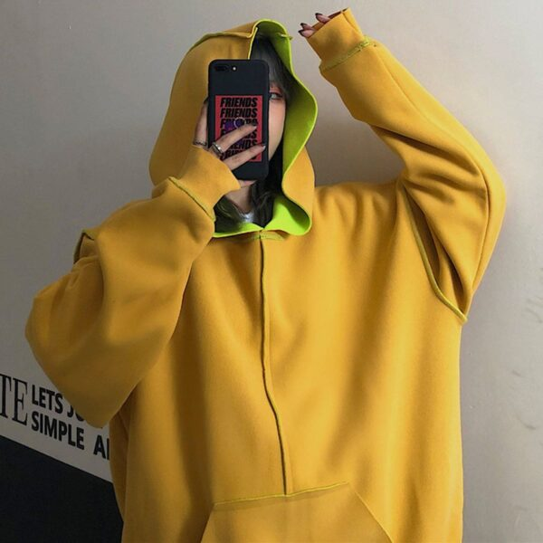 Inner Contrast Color Oversized Hoodie 4 - Orezoria Aesthetic Outfits Shop - Aesthetic Clothing - eGirl Outfits - Soft Girl Outfits