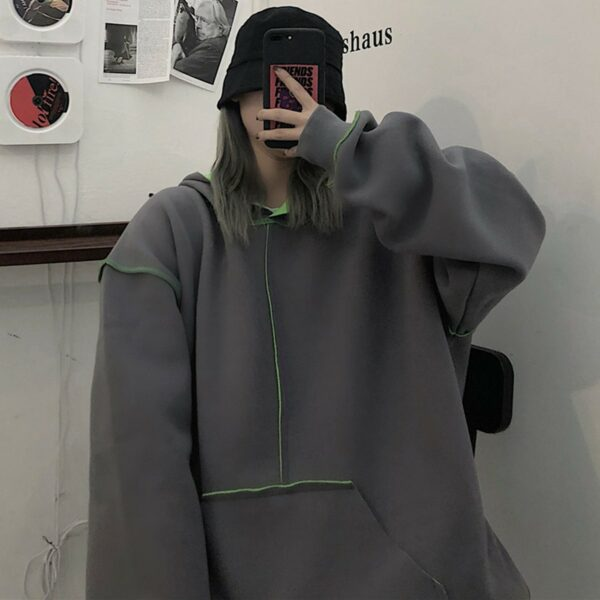 Inner Contrast Color Oversized Hoodie 5 - Orezoria Aesthetic Outfits Shop - Aesthetic Clothing - eGirl Outfits - Soft Girl Outfits