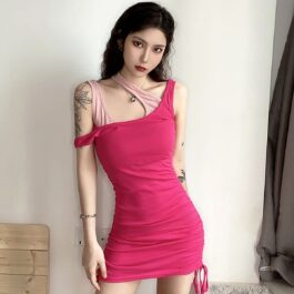 Irrational Fake Straps Short Ulzzang Dress 1 - Orezoria Aesthetic Outfits Shop - Aesthetic Clothing - eGirl Outfits - Soft Girl Outfits