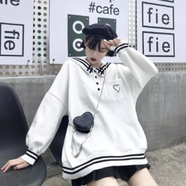 Japanese Style Heart Pocket Warm Sweater 1- Orezoria Aesthetic Outfits Shop - Aesthetic Clothing - eGirl Outfits - Soft Girl Outfits