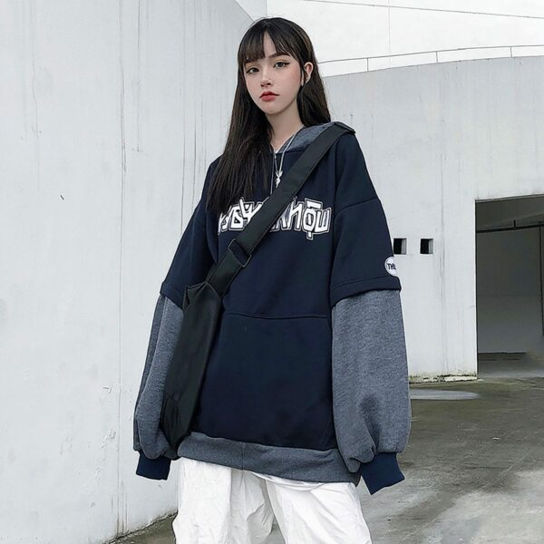 KPOP Style Dark Oversized Hoodie 1 - Orezoria Aesthetic Outfits Shop - Aesthetic Clothing - eGirl Outfits - Soft Girl Outfits