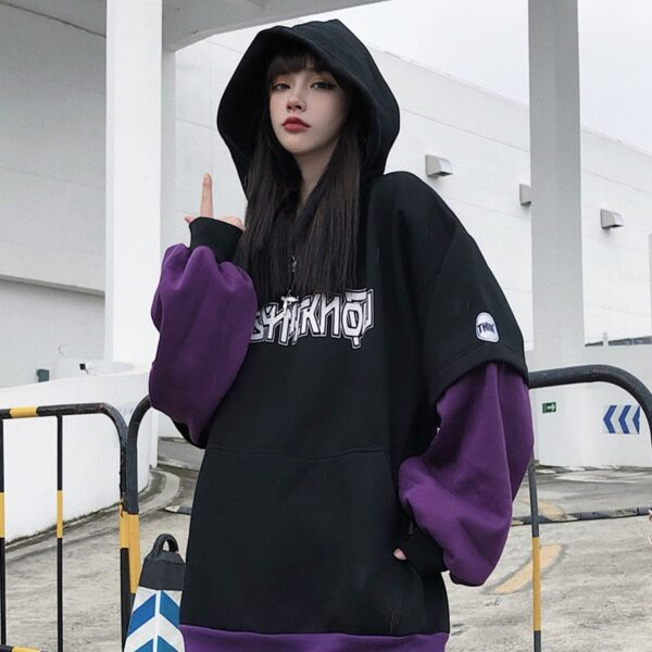 KPOP Style Dark Oversized Hoodie 2 - Orezoria Aesthetic Outfits Shop - Aesthetic Clothing - eGirl Outfits - Soft Girl Outfits