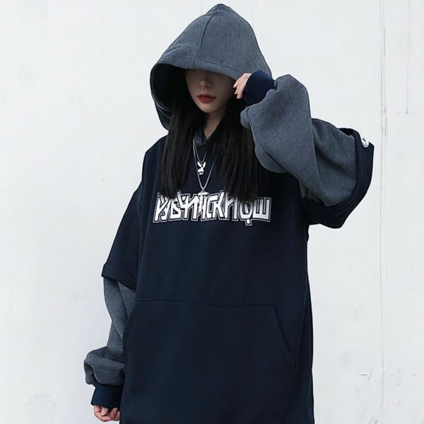 KPOP Style Dark Oversized Hoodie 3 - Orezoria Aesthetic Outfits Shop - Aesthetic Clothing - eGirl Outfits - Soft Girl Outfits