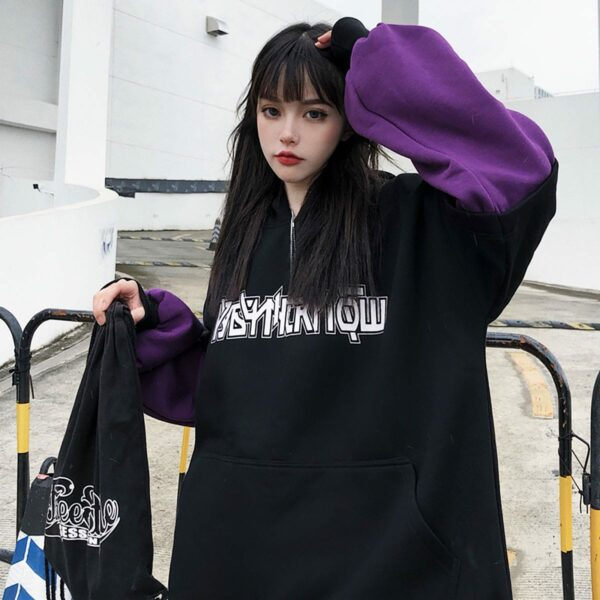 KPOP Style Dark Oversized Hoodie 4 - Orezoria Aesthetic Outfits Shop - Aesthetic Clothing - eGirl Outfits - Soft Girl Outfits