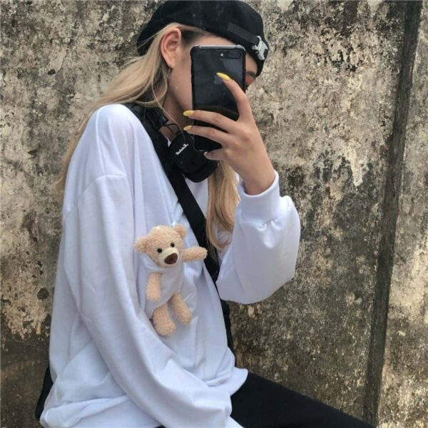 Kawaii Bear in the Pocket Sweatshirt - Orezoria Aesthetic Outfits Shop - Aesthetic Clothing - eGirl Outfits - Soft Girl Outfits.psd