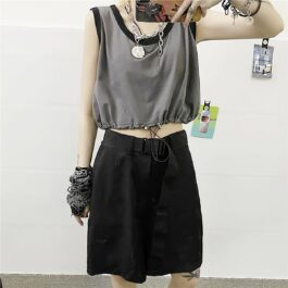 Korean Aesthetic Drawstring Tank Top 1- Orezoria Aesthetic Outfits Shop - Aesthetic Clothing - eGirl Outfits - Soft Girl Outfits