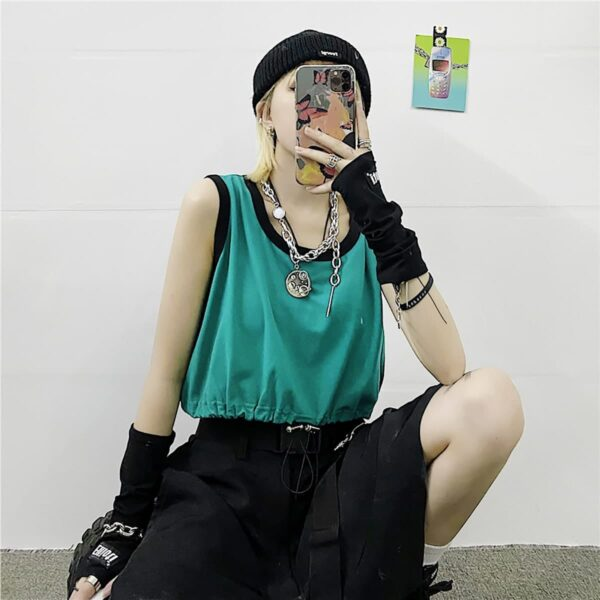 Korean Aesthetic Drawstring Tank Top 3- Orezoria Aesthetic Outfits Shop - Aesthetic Clothing - eGirl Outfits - Soft Girl Outfits