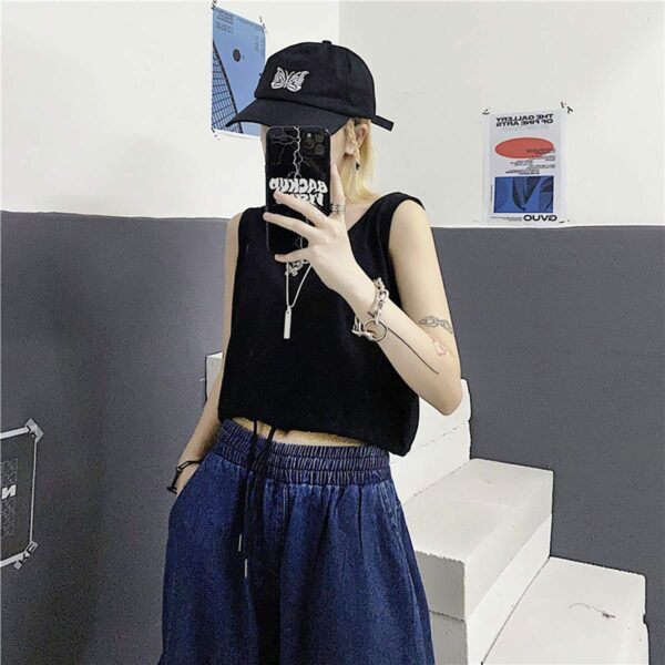 Korean Aesthetic Drawstring Tank Top 5- Orezoria Aesthetic Outfits Shop - Aesthetic Clothing - eGirl Outfits - Soft Girl Outfits