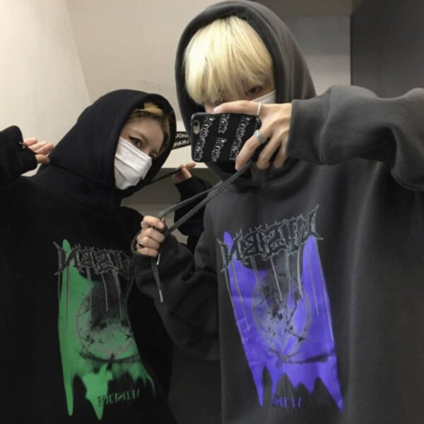 Korean Grunge Hoodie Cracked Stone.1- Orezoria Aesthetic Outfits Shop - Aesthetic Clothing - eGirl Outfits - Soft Girl Outfits