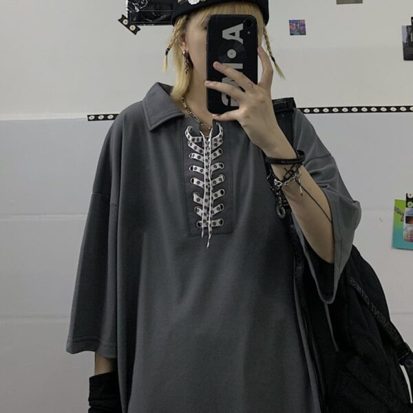 Laced Collar Oversized Polo Tee 3- Orezoria Aesthetic Outfits Shop - Aesthetic Clothing - eGirl Outfits - Soft Girl Outfits