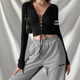 Laced Front Double Stripe Crop Top 4- Orezoria Aesthetic Outfits Shop - Aesthetic Clothing - eGirl Outfits - Soft Girl Outfits