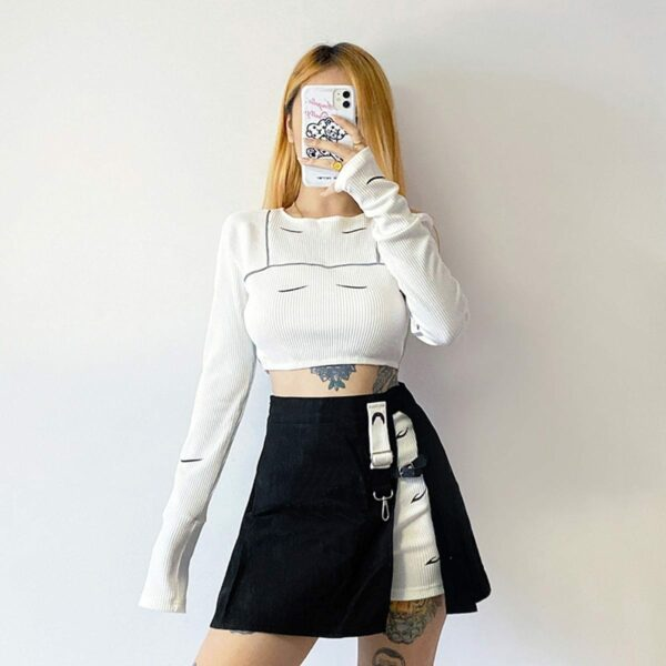 Layered Retro Contrast Hakama Skirt 3 - Orezoria Aesthetic Outfits Shop - Aesthetic Clothing - eGirl Outfits - Soft Girl Outfits
