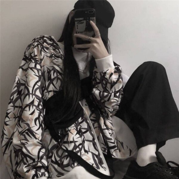 Leaves Graffiti Printed Harajuku Hoodie - Orezoria Aesthetic Outfits Shop - Aesthetic Clothing - eGirl Outfits - Soft Girl Outfits.psd