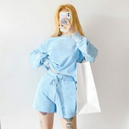 Light Blue Baby Girl Top and Shorts Set 1- Orezoria Aesthetic Outfits Shop - Aesthetic Clothing - eGirl Outfits - Soft Girl Outfits