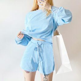 Light Blue Baby Girl Top and Shorts Set 2- Orezoria Aesthetic Outfits Shop - Aesthetic Clothing - eGirl Outfits - Soft Girl Outfits