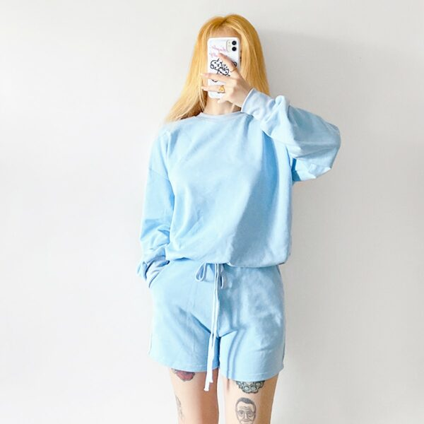Light Blue Baby Girl Top and Shorts Set 3- Orezoria Aesthetic Outfits Shop - Aesthetic Clothing - eGirl Outfits - Soft Girl Outfits