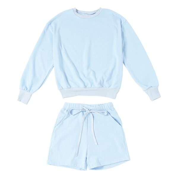 Light Blue Baby Girl Top and Shorts Set 4- Orezoria Aesthetic Outfits Shop - Aesthetic Clothing - eGirl Outfits - Soft Girl Outfits