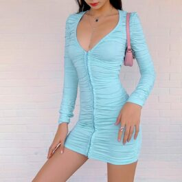 Light Blue Long Sleeve Pleated Dress 1- Orezoria Aesthetic Outfits Shop - Aesthetic Clothing - eGirl Outfits - Soft Girl Outfits