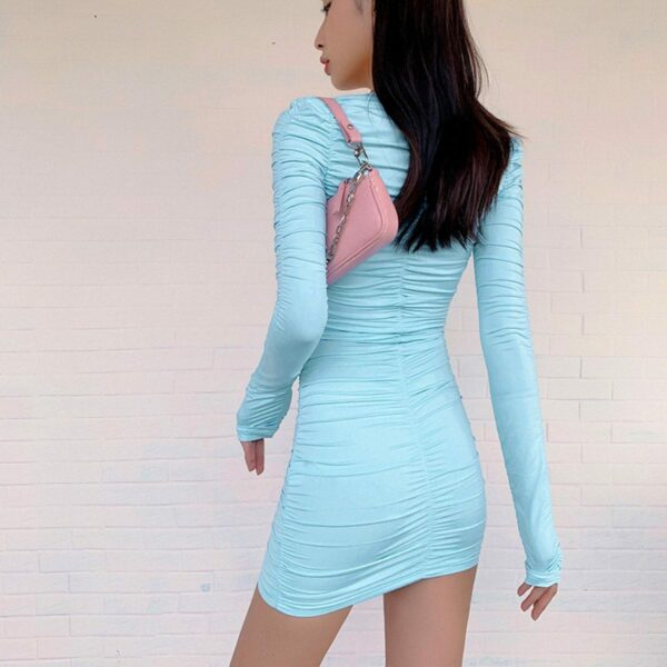 Light Blue Long Sleeve Pleated Dress 2- Orezoria Aesthetic Outfits Shop - Aesthetic Clothing - eGirl Outfits - Soft Girl Outfits