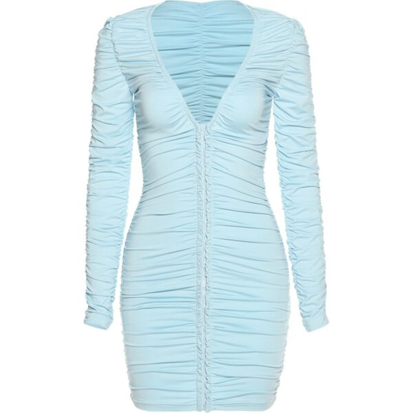 Light Blue Long Sleeve Pleated Dress 4- Orezoria Aesthetic Outfits Shop - Aesthetic Clothing - eGirl Outfits - Soft Girl Outfits