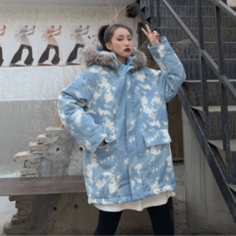Light Blue Paint Tie Dye Winter Jacket - Orezoria Aesthetic Outfits Shop - Aesthetic Clothing - eGirl Outfits - Soft Girl Outfits.psd