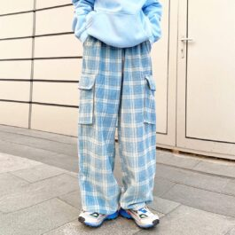 Light Blue Plaid Grid Super Loose Pants 1 - Orezoria Aesthetic Outfits Shop - Aesthetic Clothing - eGirl Outfits - Soft Girl Outfits