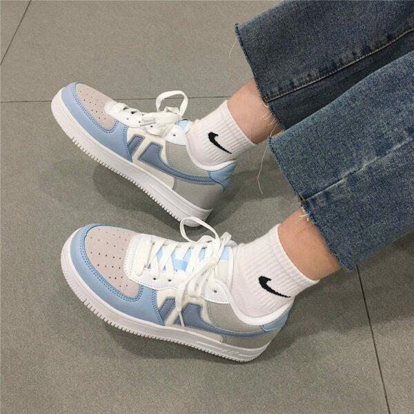 Light Cobalt Blue Aesthetic Sneakers 3- Orezoria Aesthetic Outfits Shop - Aesthetic Clothing - eGirl Outfits - Soft Girl Outfits