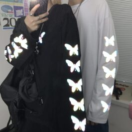 Light Reflective Butterflies Long Sleeve 1 - Orezoria Aesthetic Outfits Shop - Aesthetic Clothing - eGirl Outfits - Soft Girl Outfits.psd