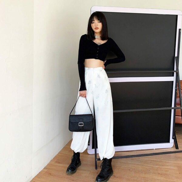 Light Reflective Butterflies Loose Pants 2 - Orezoria Aesthetic Outfits Shop - Aesthetic Clothing - eGirl Outfits - Soft Girl Outfits