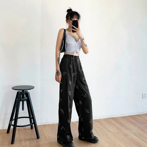 Light Reflective Butterflies Loose Pants 3 - Orezoria Aesthetic Outfits Shop - Aesthetic Clothing - eGirl Outfits - Soft Girl Outfits