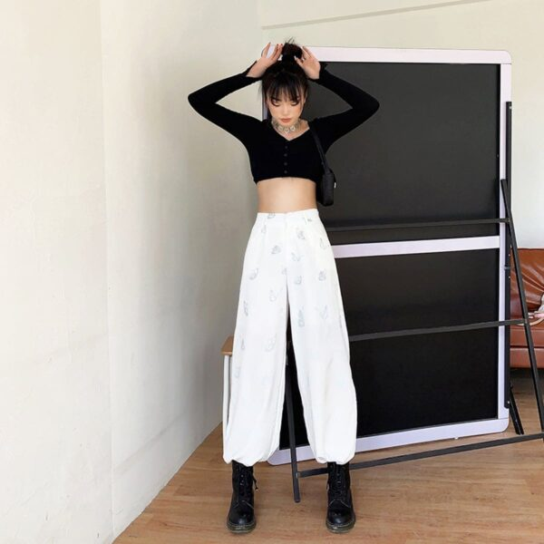 Light Reflective Butterflies Loose Pants 4 - Orezoria Aesthetic Outfits Shop - Aesthetic Clothing - eGirl Outfits - Soft Girl Outfits